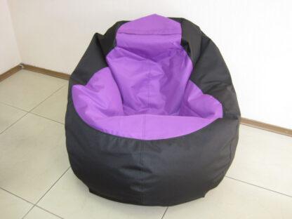 кресло мешок Груша Комби в фиолетово-черном цвете